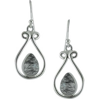 Big Royalty Style!! 925 Silver Black Rutile Earrings