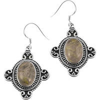 Breathtaking!!  925 Sterling Silver Golden Rutile Earrings