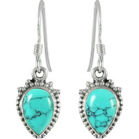 Pretty Turquoise Gemstone Sterling Silver Earrings Jewelry