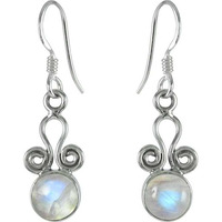 Abstract Rainbow Moonstone Gemstone Sterling Silver Earrings Jewelry