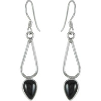 Fantastic Quality Black Onyx Gemstone Sterling Silver Earrings Jewelry