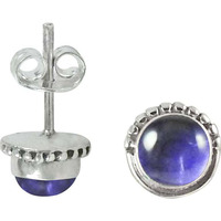 Antique Look Amethyst Gemstone Sterling Silver Stud Earrings Jewelry