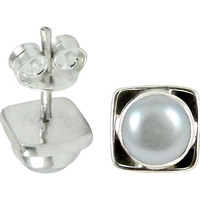 First Sight ! Pearl Sterling Silver Stud Earrings Jewelry