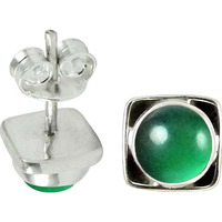 Delicate ! Green Onyx Gemstone Sterling Silver Stud Earrings Jewelry