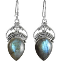 Lady Elegance Labradorite Gemstone Silver Jewelry Earrings