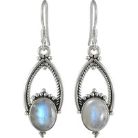 Skin Friendly Rainbow Moonstone Sterling Silver Jewelry Earrings