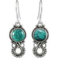 Party Wear Turquoise Gemstone Silver Jewelry Earrings