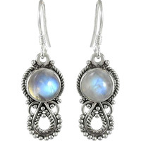 Absorbing Rainbow Moonstone Sterling Silver Jewelry Earrings