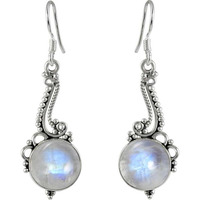 Elegant Rainbow Moonstone Sterling Silver Jewelry Earrings