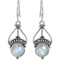 Exclusive Style Rainbow Moonstone Sterling Silver Jewelry Earrings