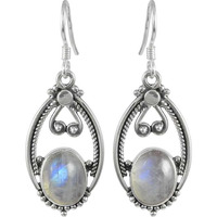 Top Quality Rainbow Moonstone Sterling Silver Jewelry Earrings