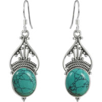 Victorian Style Turquoise Gemstone Silver Jewelry Earrings