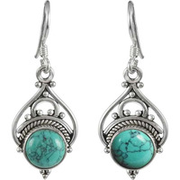Engaging Turquoise Gemstone Silver Jewelry Earrings