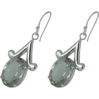 Big Excellent ! Green Amethyst 925 Sterling Silver Earrings
