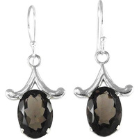 Big Relief Stone ! Smoky Quartz 925 Sterling Silver Earrings