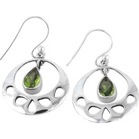 Perfect!! 925 Silver Peridot Gemstone Earrings