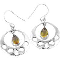 Big Inspire!! 925 Silver Citrine Gemstone Earrings
