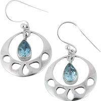 New Faceted!! 925 Silver Blue Topaz Gemstone Earrings