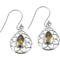 Briliance!! 925 Silver Citrine Gemstone Earrings