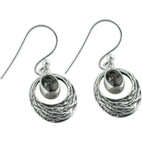 Stylish Design!! 925 Silver Smoky Quartz Gemstone Earrings