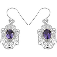 Antique Look !! Amethyst 925 Sterling Silver Earrings