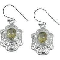 Exclusive!! 925 Silver Citrine Gemstone Earrings