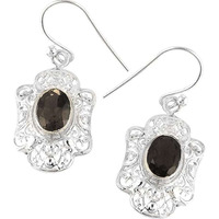 Big Love's Victory ! Smoky Quartz 925 Sterling Silver Earrings