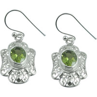 Classy Design!! 925 Silver Peridot Gemstone Earrings