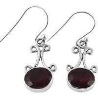 Stylish! 925 Silver Ruby Gemstone Earrings