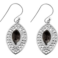 So In Love !! Smoky Quartz 925 Sterling Silver Earrings