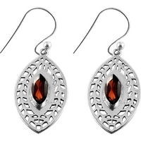 Beautiful !! Garnet 925 Sterling Silver Earrings