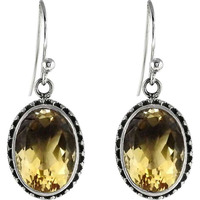 Big Royal Style ! Citrine 925 Sterling Silver Earrings