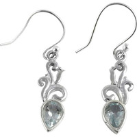Fashion Design!! Blue Topaz 925 Sterling Silver Earrings