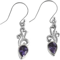 Stylish Design!! Amethyst 925 Sterling Silver Earrings