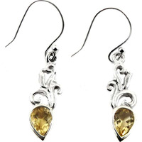 Lady Elegance!! Citrine 925 Sterling Silver Earrings