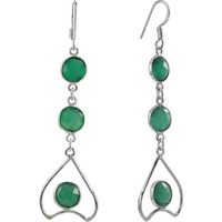 Handcrafted Green Onyx Gemstone Silver Earrings Jewelry