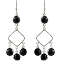 Skin Friendly Black Onyx Gemstone Silver Earrings Jewelry