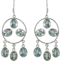 Blue Topaz Gemstone Silver Jewelry Earrings