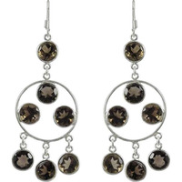 Chunky Smoky Quartz Gemstone Silver Earrings Jewelry