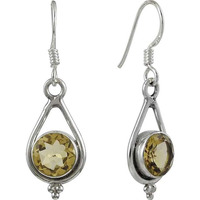 Exclusive Style Citrine Gemstone Silver Earrings Jewelry