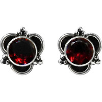 Catching!! 925 Sterling Silver Garnet Studs