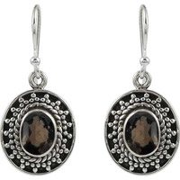 Big Love's Victory!! 925 Sterling Silver Smoky Quartz Earrings