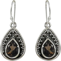 Classy Design!! 925 Sterling Silver Smoky Quartz Earrings