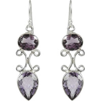 Elegant!! 925 Sterling Silver Amethyst Earrings