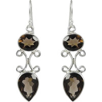 Favorite!! 925 Sterling Silver Smoky Quartz Earrings