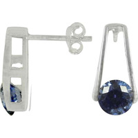 Well-Favoured Swiss Blue CZ Gemstone Sterling Silver Stud Earrings Jewelry