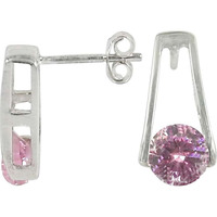 Natural Pink CZ Gemstone Sterling Silver Stud Earrings Jewelry