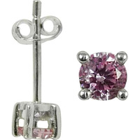 Beloved Pink CZ Gemstone Sterling Silver Stud Earrings Jewelry