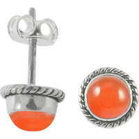 Chunky Carnelian Gemstone Sterling Silver Stud Earrings Jewelry