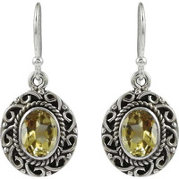 High Work Quality!! 925 Sterling Silver Citrine Earrings